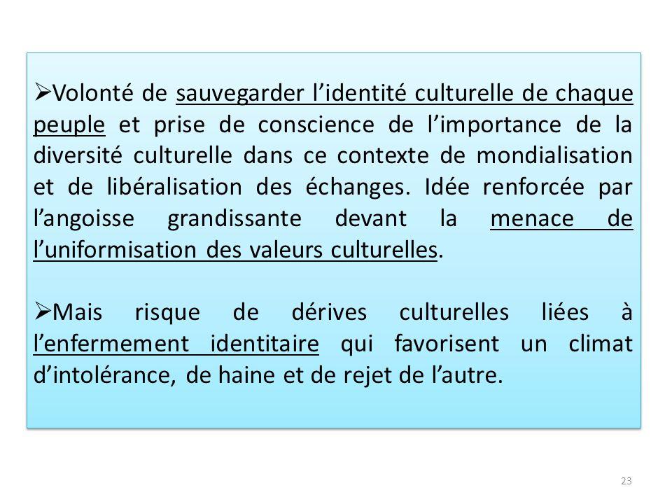 Volonté de sauvegarder l'identité culturelle de chaque peuple et prise de conscience de l'importance de la diversité culturelle dans ce contexte de mondialisation et de libéralisation des échanges. Idée renforcée par l'angoisse grandissante devant la menace de l'uniformisation des valeurs culturelles.