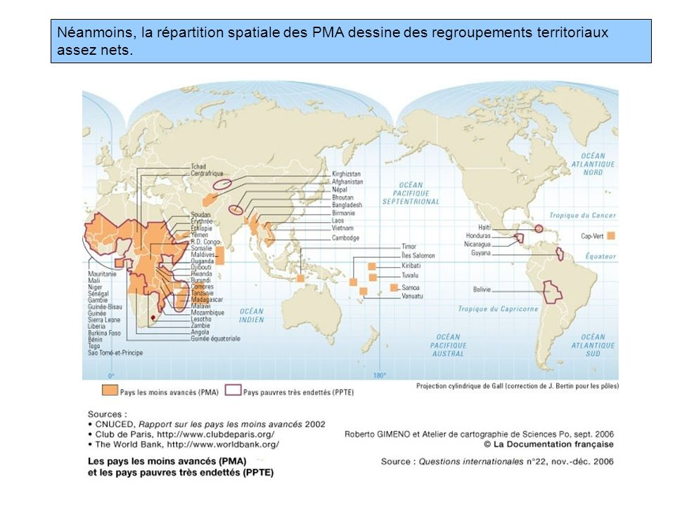 Néanmoins, la répartition spatiale des PMA dessine des regroupements territoriaux assez nets.