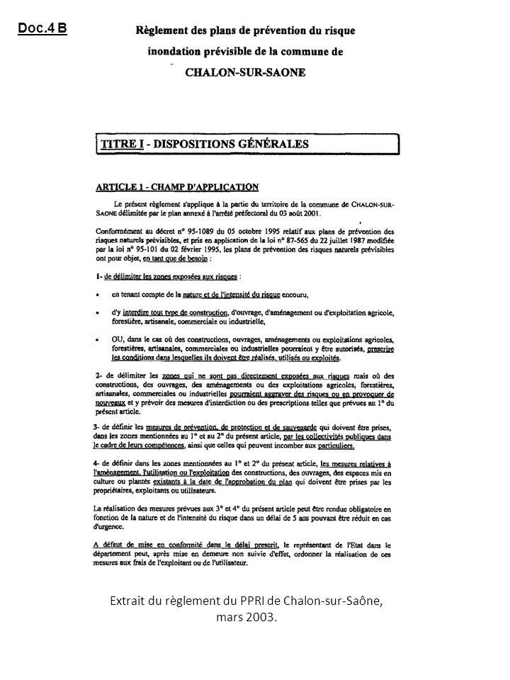 Extrait du règlement du PPRI de Chalon-sur-Saône, mars 2003.