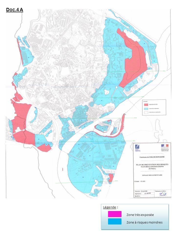 Doc.4 A Légende : Zone très exposée Zone à risques moindres