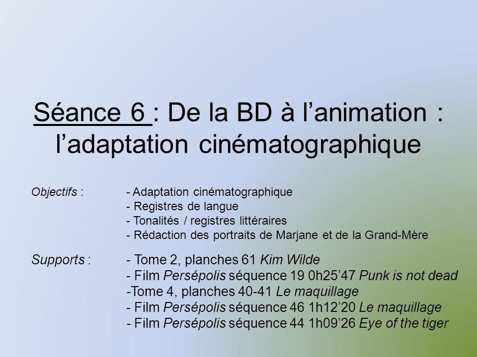 Séance 6 : De la BD à l'animation : l'adaptation cinématographique