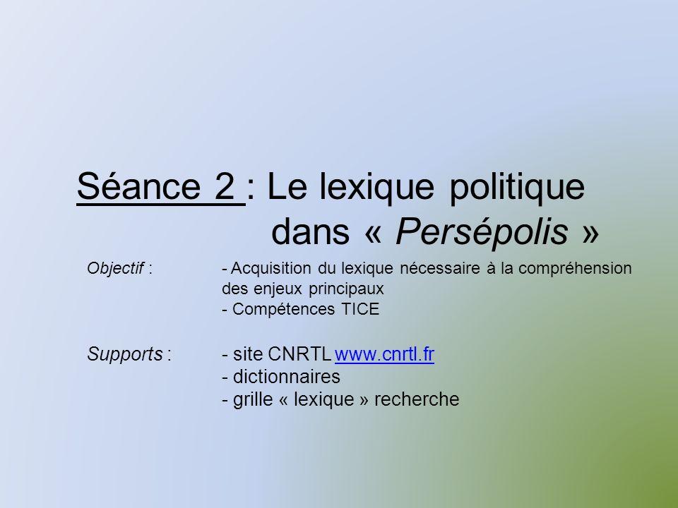 Séance 2 : Le lexique politique