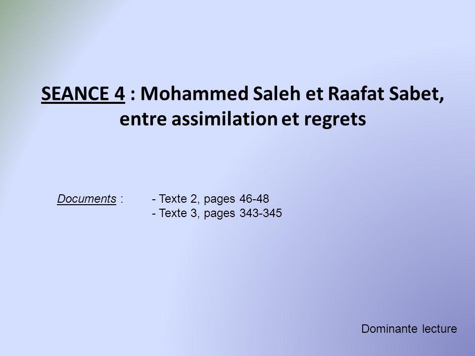 SEANCE 4 : Mohammed Saleh et Raafat Sabet, entre assimilation et regrets