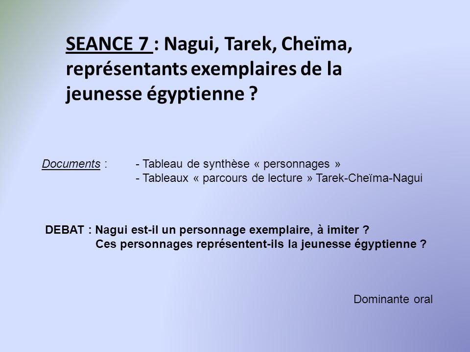 SEANCE 7 : Nagui, Tarek, Cheïma, représentants exemplaires de la jeunesse égyptienne