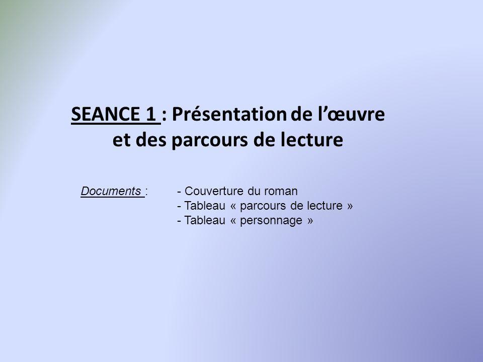 SEANCE 1 : Présentation de l'œuvre et des parcours de lecture
