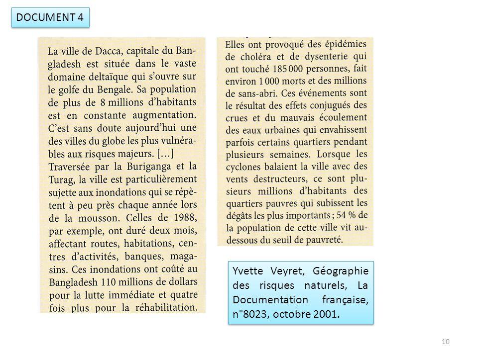 DOCUMENT 4 Yvette Veyret, Géographie des risques naturels, La Documentation française, n°8023, octobre 2001.