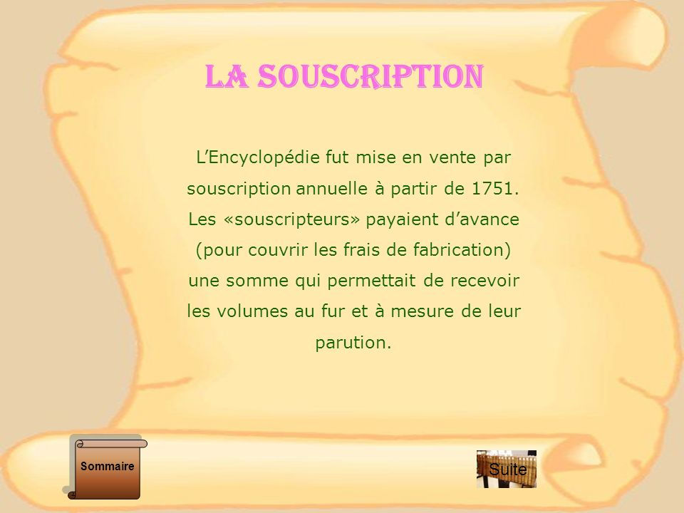 LA SOUSCRIPTION