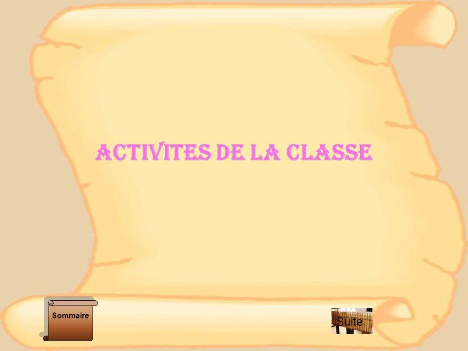 ACTIVITES DE LA CLASSE Sommaire Suite