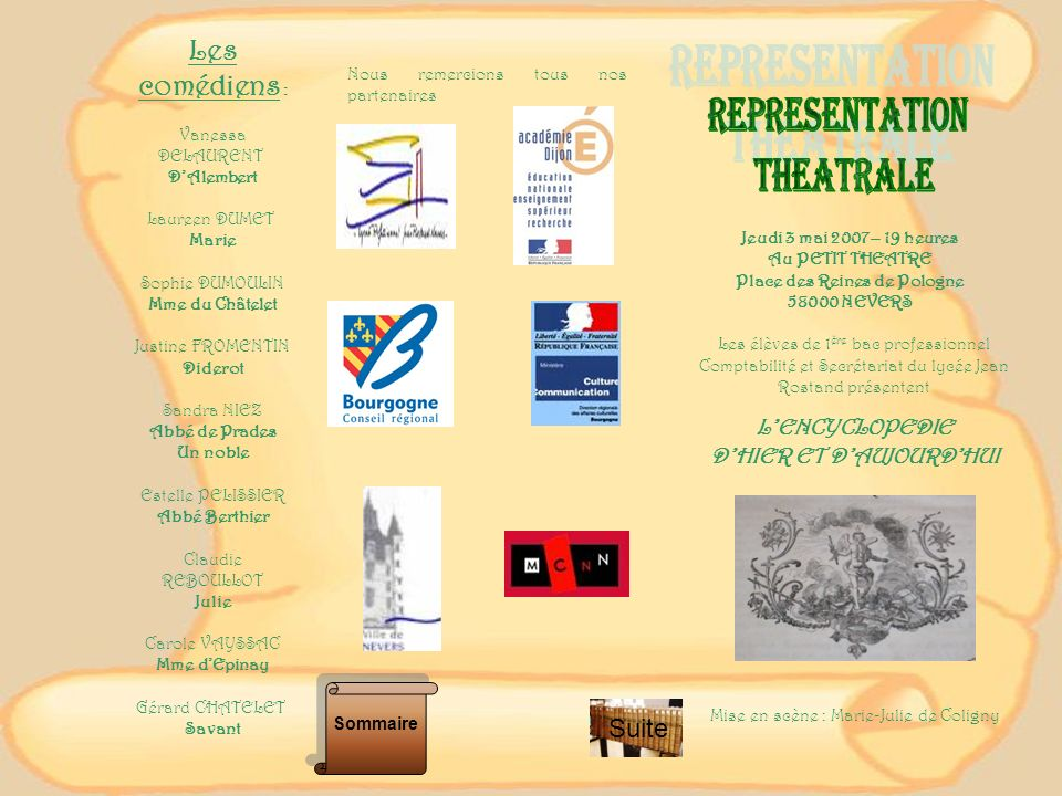 Les comédiens : Suite REPRESENTATION THEATRALE L'ENCYCLOPEDIE