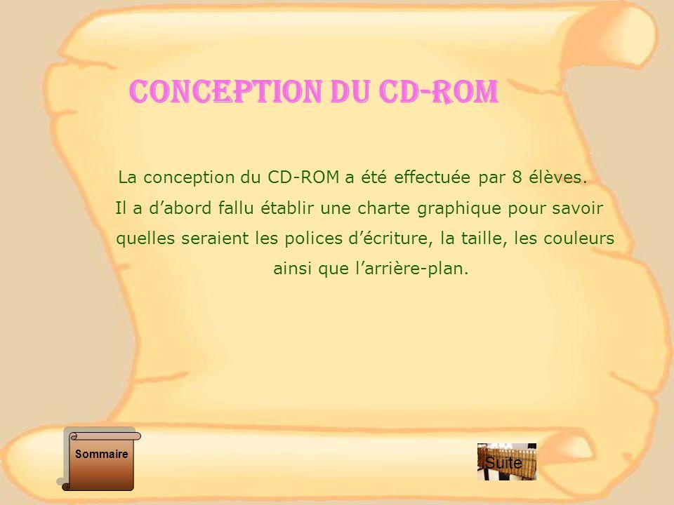 CONCEPTION DU CD-ROM La conception du CD-ROM a été effectuée par 8 élèves. Il a d'abord fallu établir une charte graphique pour savoir.