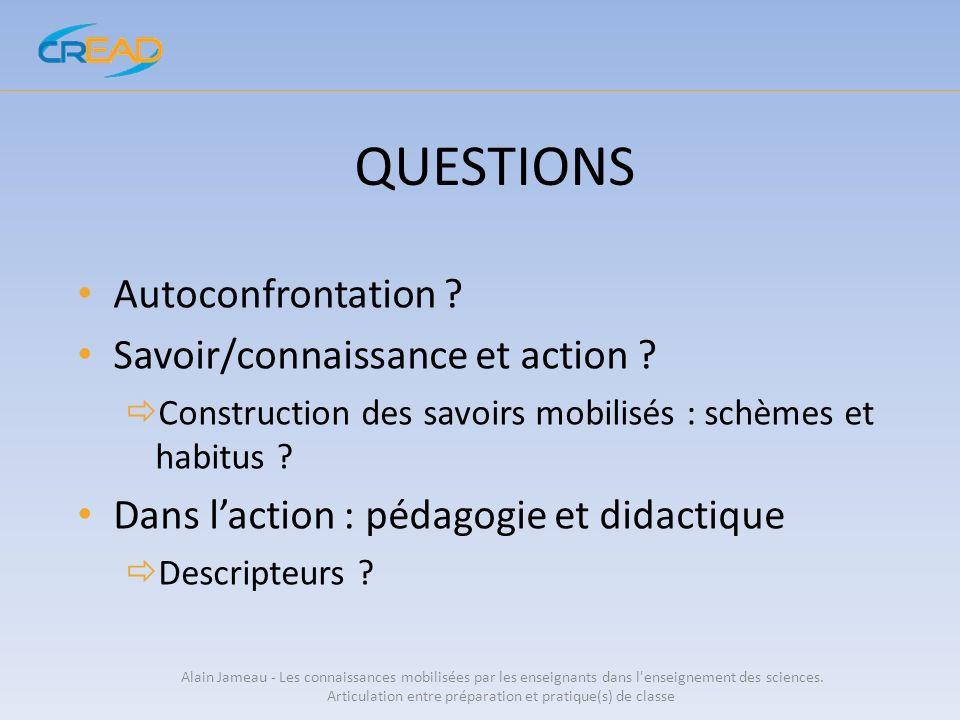 QUESTIONS Autoconfrontation Savoir/connaissance et action