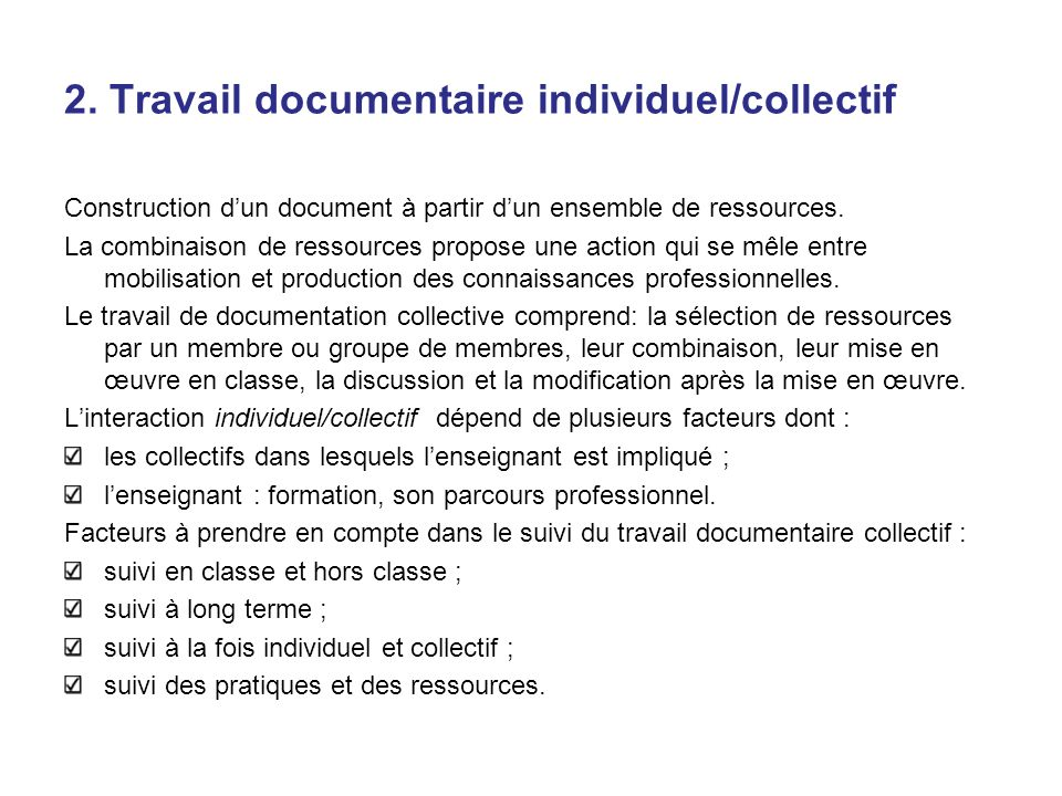 2. Travail documentaire individuel/collectif