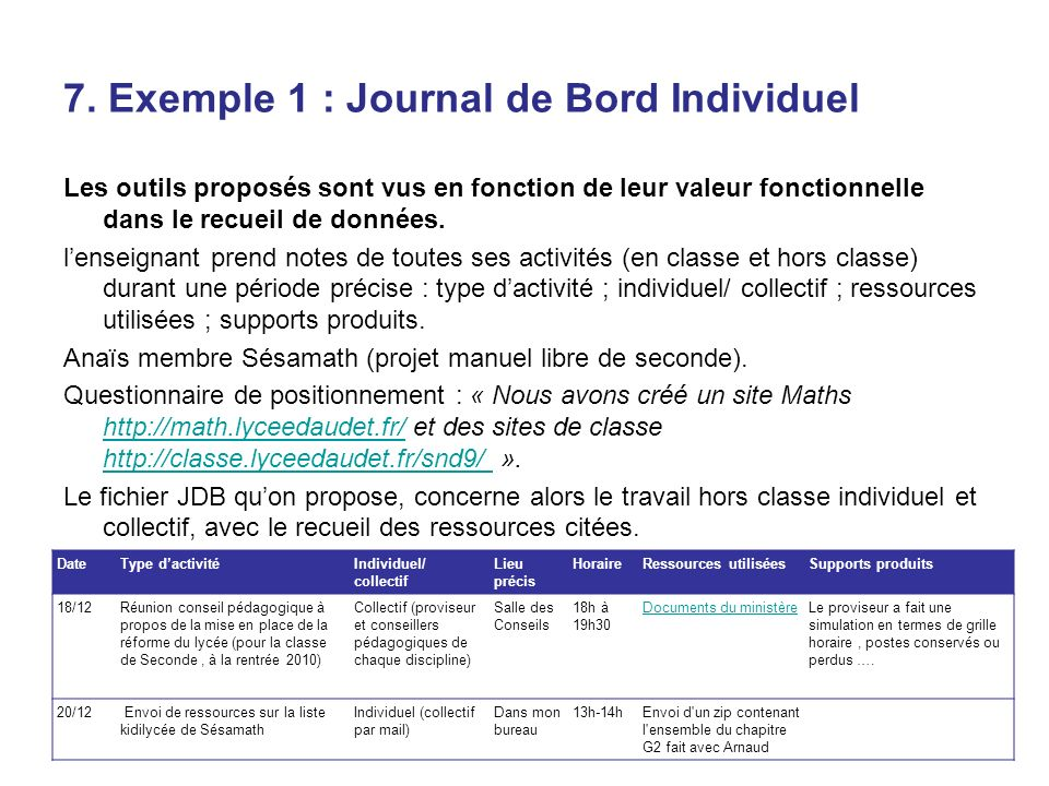 7. Exemple 1 : Journal de Bord Individuel