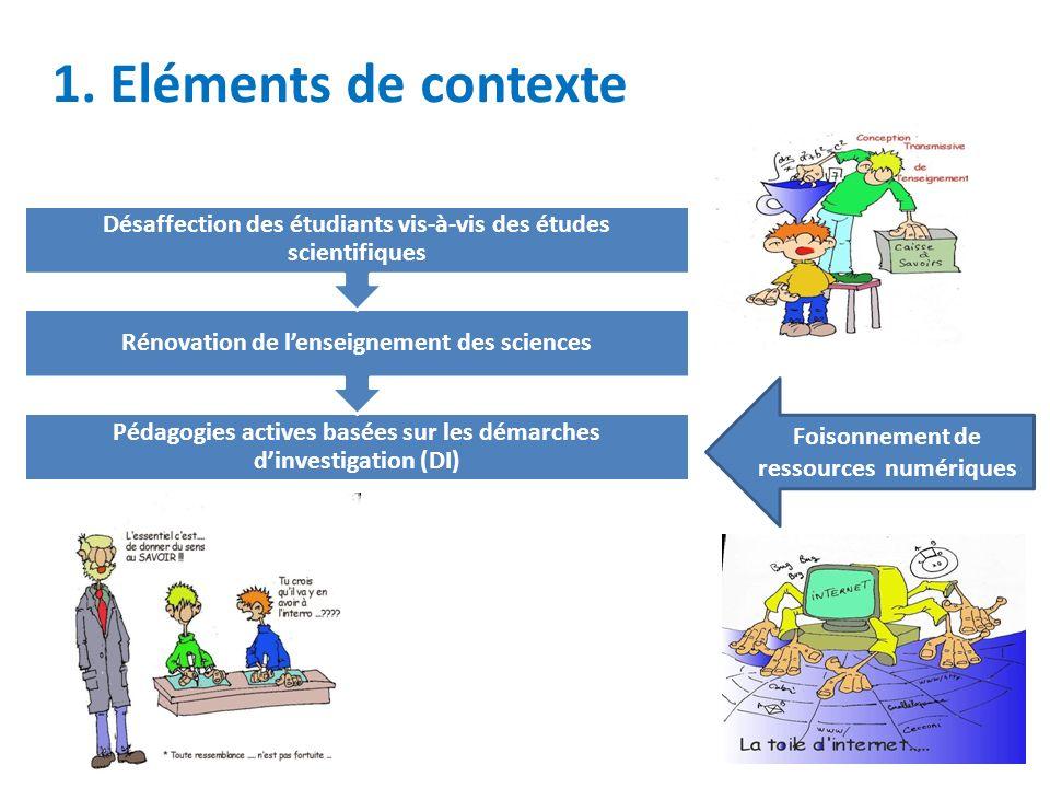 1. Eléments de contexte Désaffection des étudiants vis-à-vis des études scientifiques. Rénovation de l'enseignement des sciences.