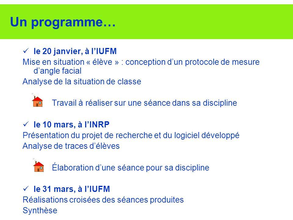 Un programme… le 20 janvier, à l'IUFM