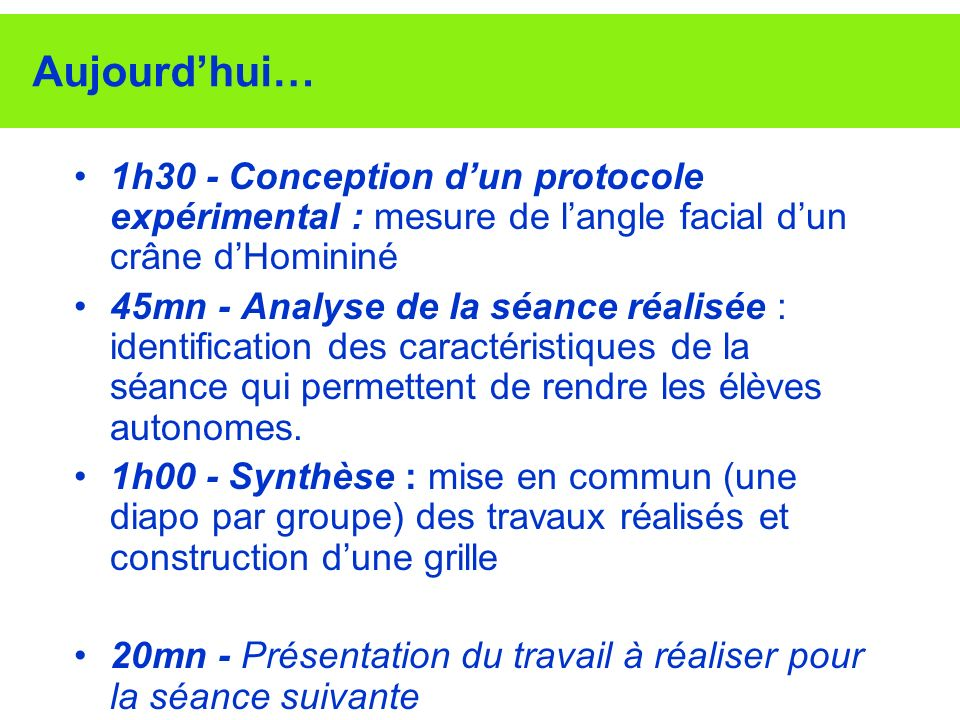 Aujourd'hui… 1h30 - Conception d'un protocole expérimental : mesure de l'angle facial d'un crâne d'Homininé.