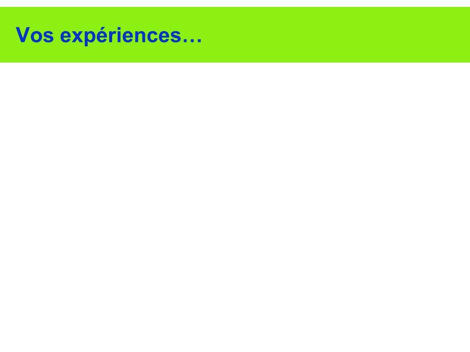 Vos expériences…