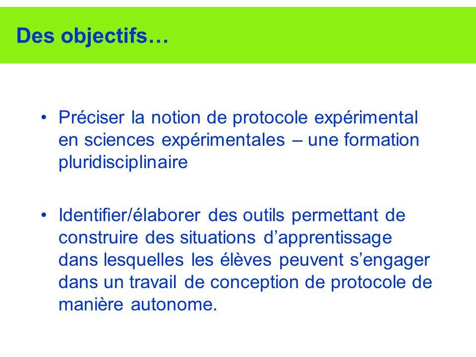 Des objectifs… Préciser la notion de protocole expérimental en sciences expérimentales – une formation pluridisciplinaire.