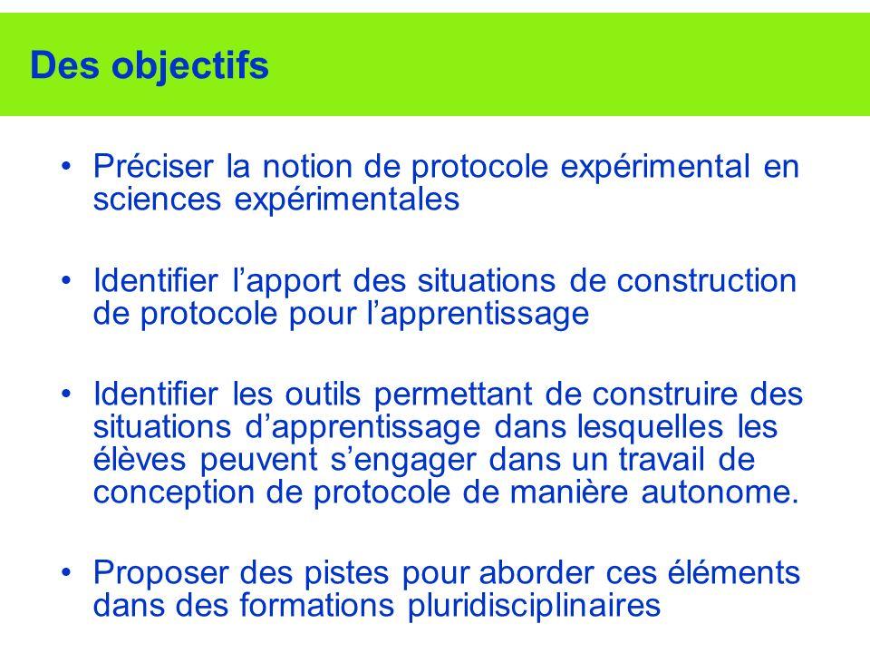 Des objectifs Préciser la notion de protocole expérimental en sciences expérimentales.