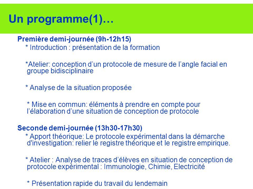 Un programme(1)… Première demi-journée (9h-12h15)