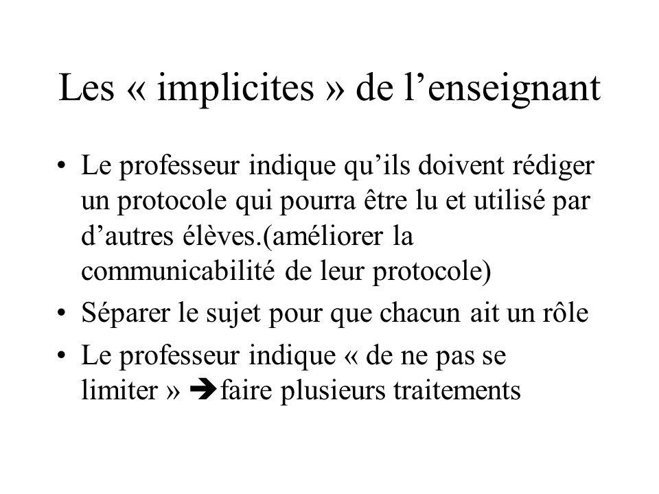 Les « implicites » de l'enseignant