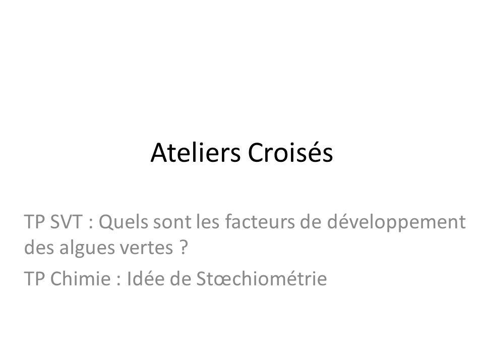Ateliers Croisés TP SVT : Quels sont les facteurs de développement des algues vertes .