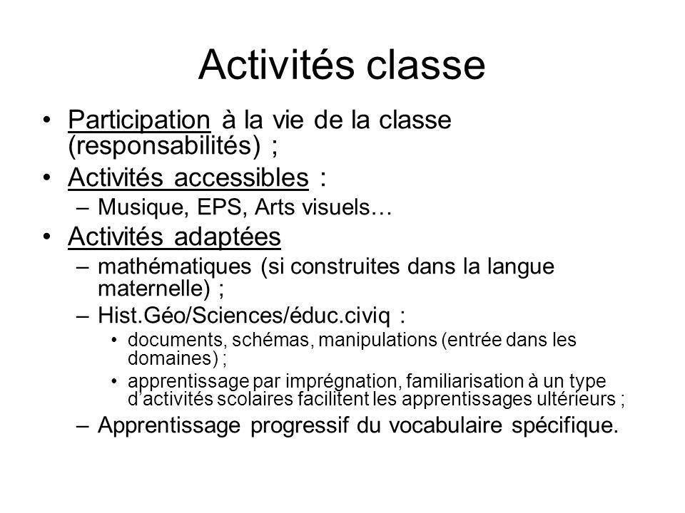 Activités classeParticipation à la vie de la classe (responsabilités) ; Activités accessibles : Musique, EPS, Arts visuels…