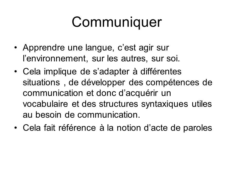 Communiquer Apprendre une langue, c'est agir sur l'environnement, sur les autres, sur soi.
