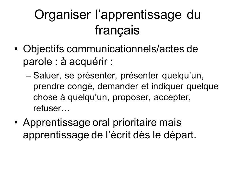 Organiser l'apprentissage du français