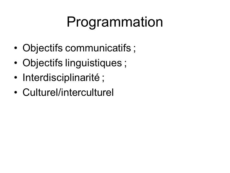 Programmation Objectifs communicatifs ; Objectifs linguistiques ;