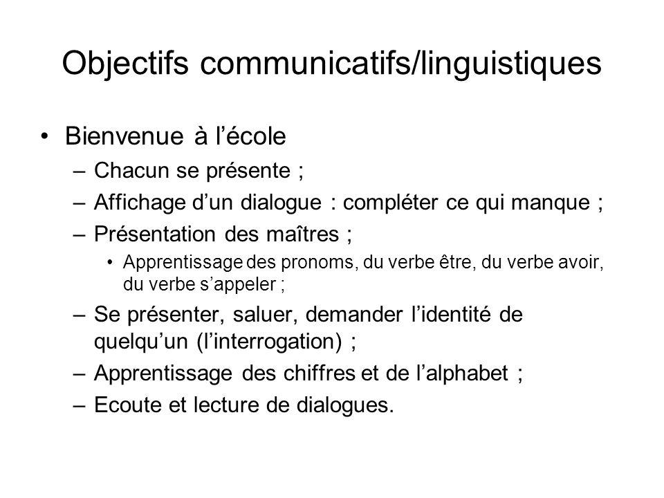 Objectifs communicatifs/linguistiques