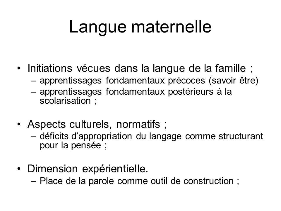 Langue maternelle Initiations vécues dans la langue de la famille ;