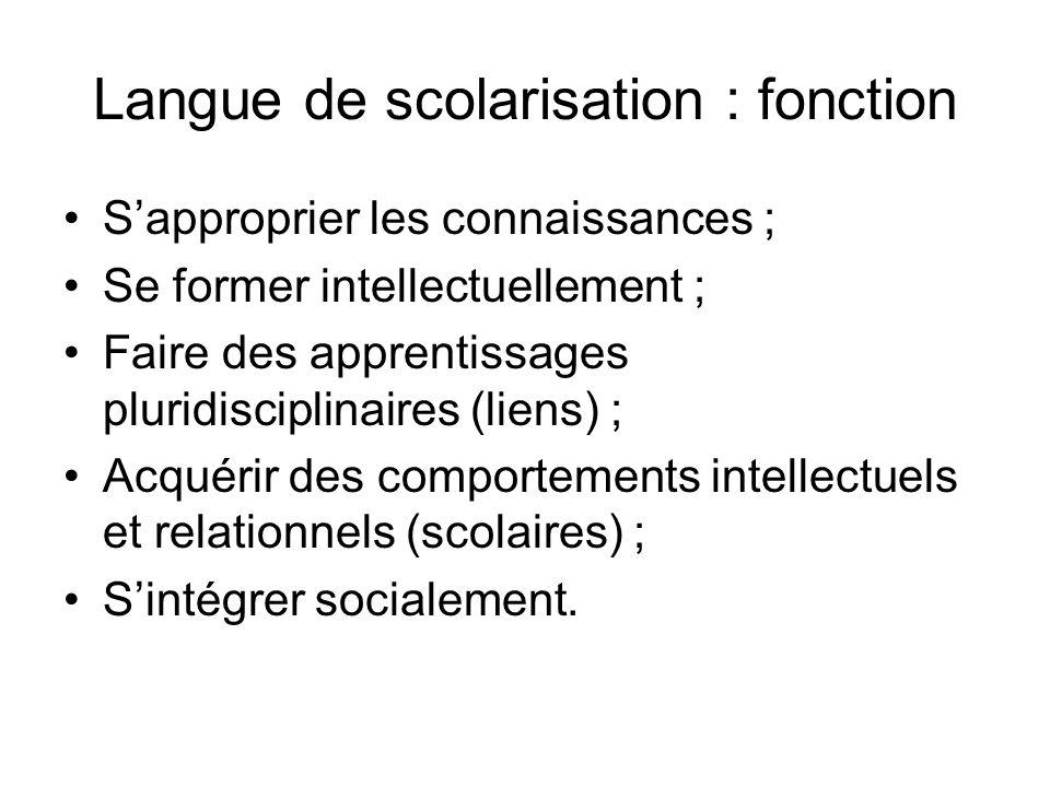 Langue de scolarisation : fonction