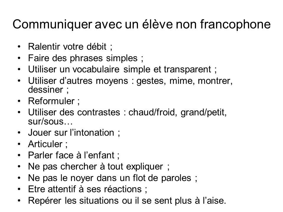 Communiquer avec un élève non francophone