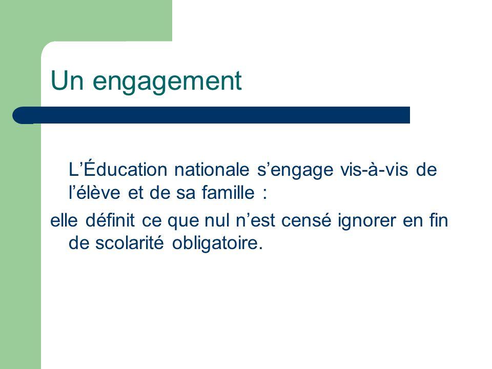 Un engagement L'Éducation nationale s'engage vis-à-vis de l'élève et de sa famille :