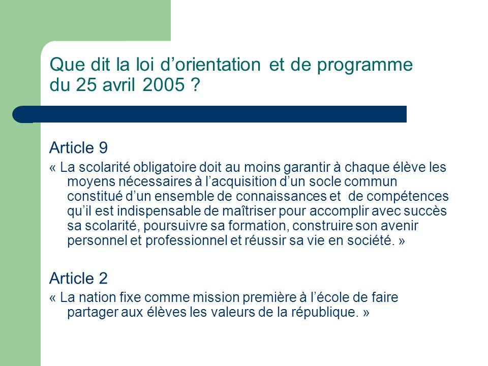 Que dit la loi d'orientation et de programme du 25 avril 2005