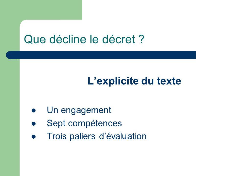 Que décline le décret L'explicite du texte Un engagement