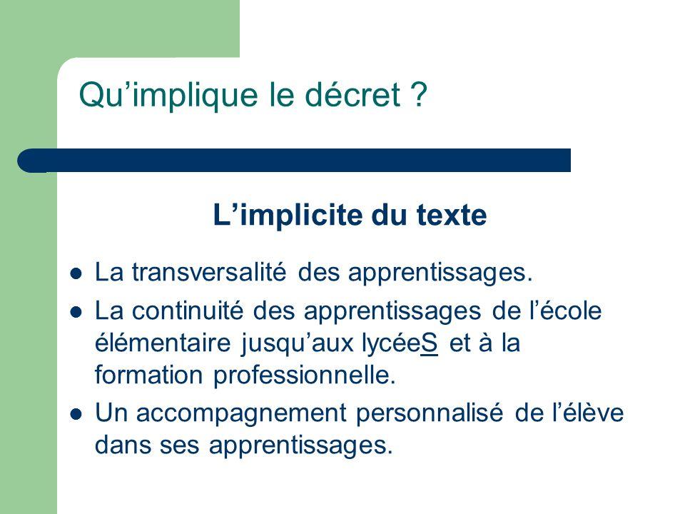Qu'implique le décret L'implicite du texte