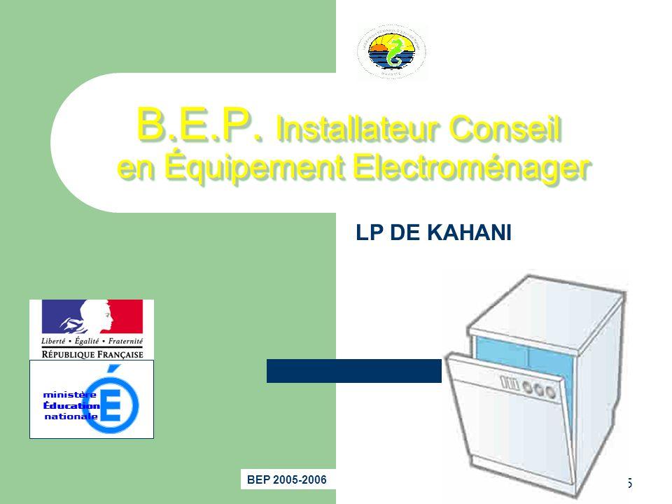 B.E.P. Installateur Conseil en Équipement Electroménager