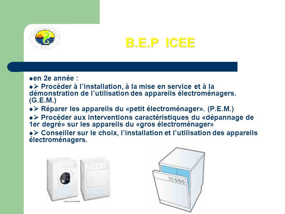 B.E.P ICEE en 2e année :