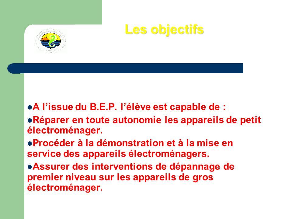 Les objectifs A l'issue du B.E.P. l'élève est capable de :