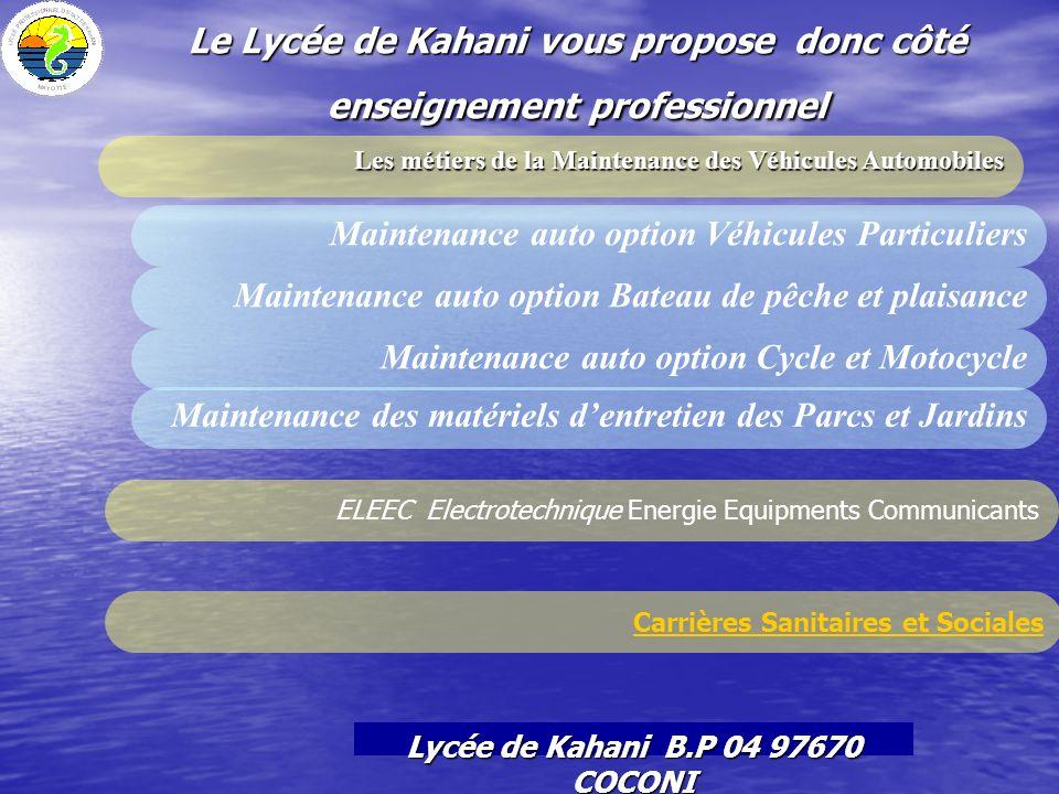 Le Lycée de Kahani vous propose donc côté enseignement professionnel