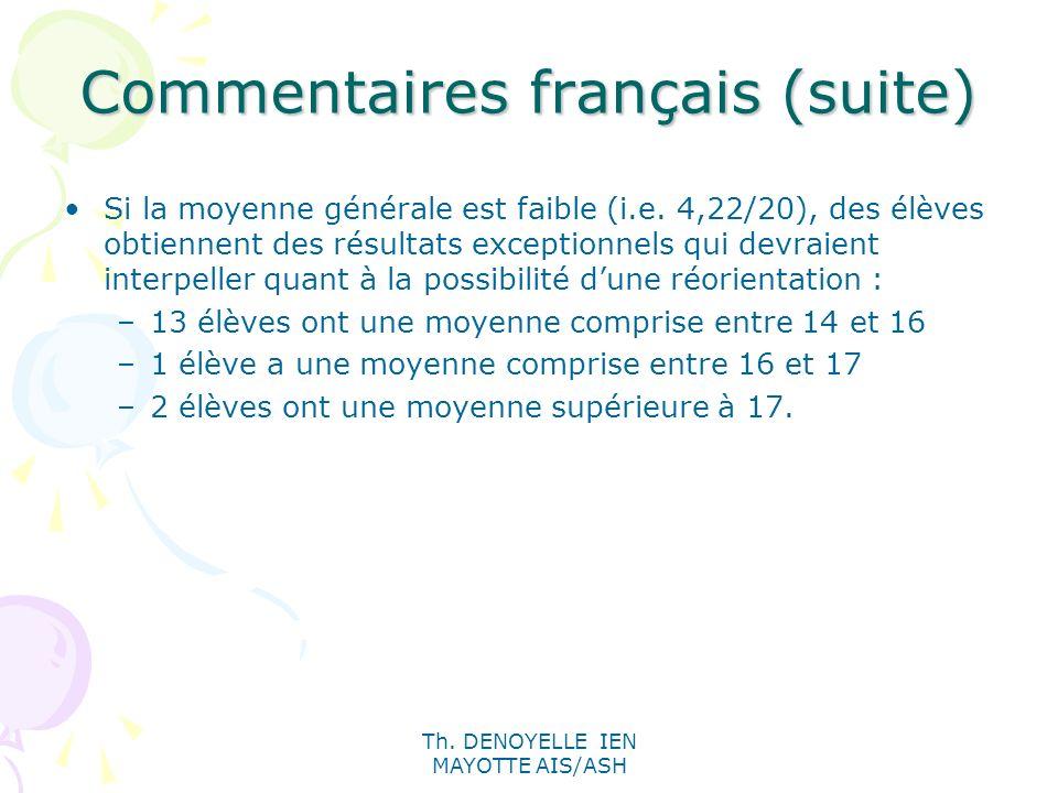 Commentaires français (suite)