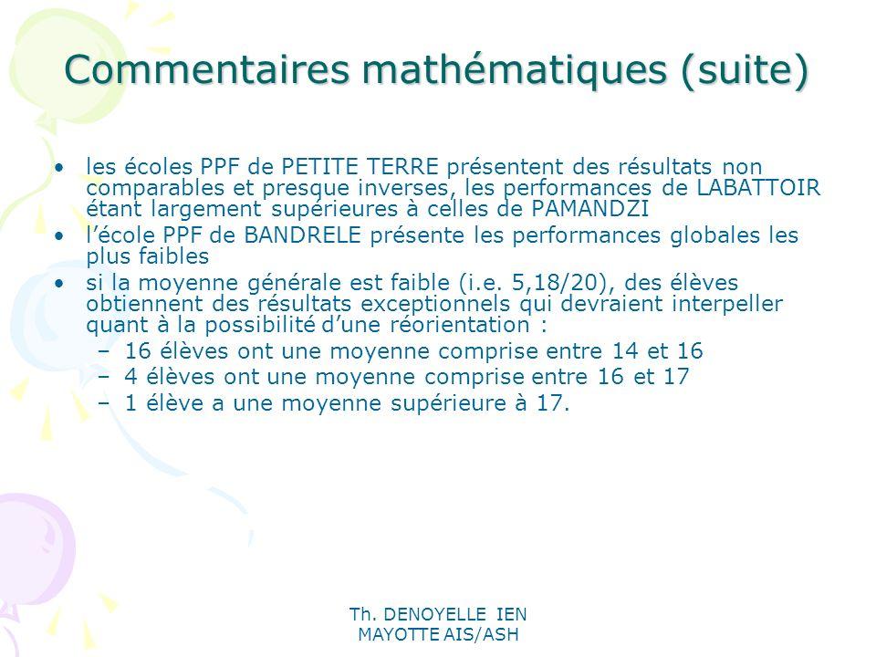 Commentaires mathématiques (suite)