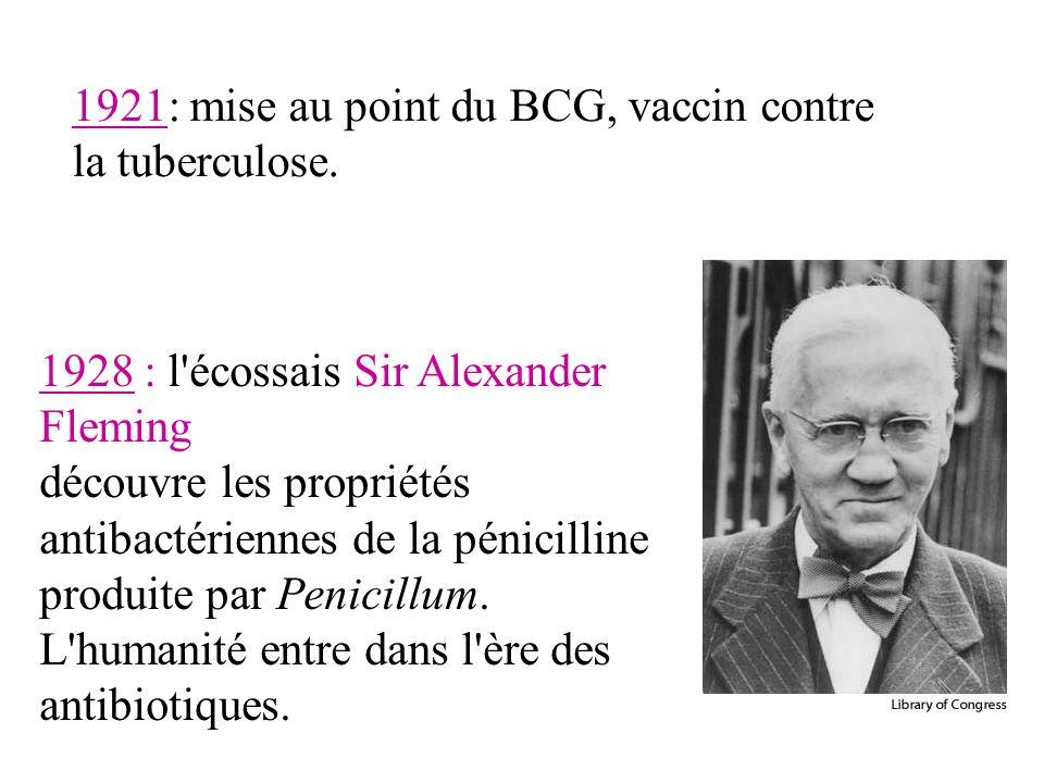 1921: mise au point du BCG, vaccin contre la tuberculose.