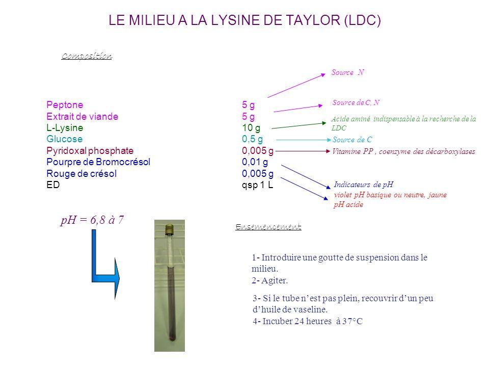 LE MILIEU A LA LYSINE DE TAYLOR (LDC)