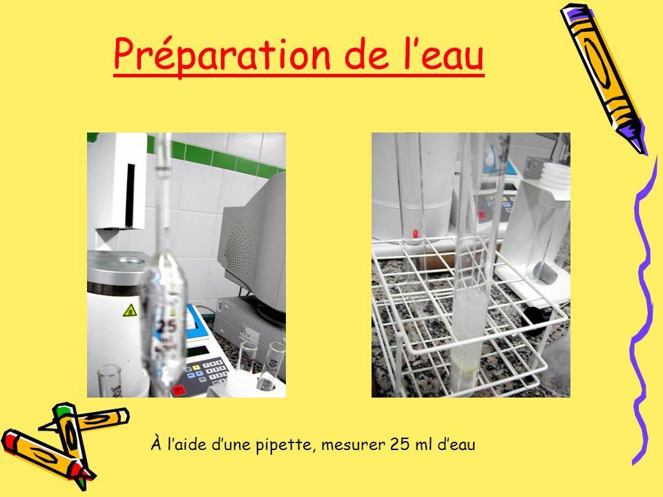 Préparation de l'eau À l'aide d'une pipette, mesurer 25 ml d'eau