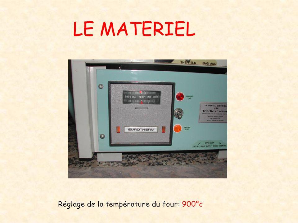 LE MATERIEL Réglage de la température du four: 900°c