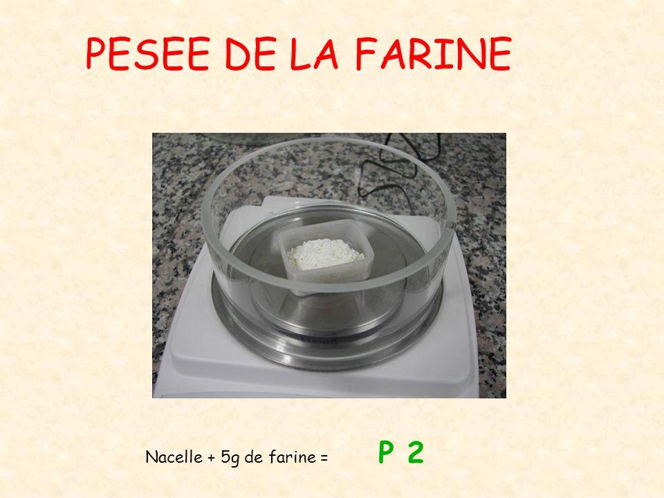 PESEE DE LA FARINE Nacelle + 5g de farine = P 2