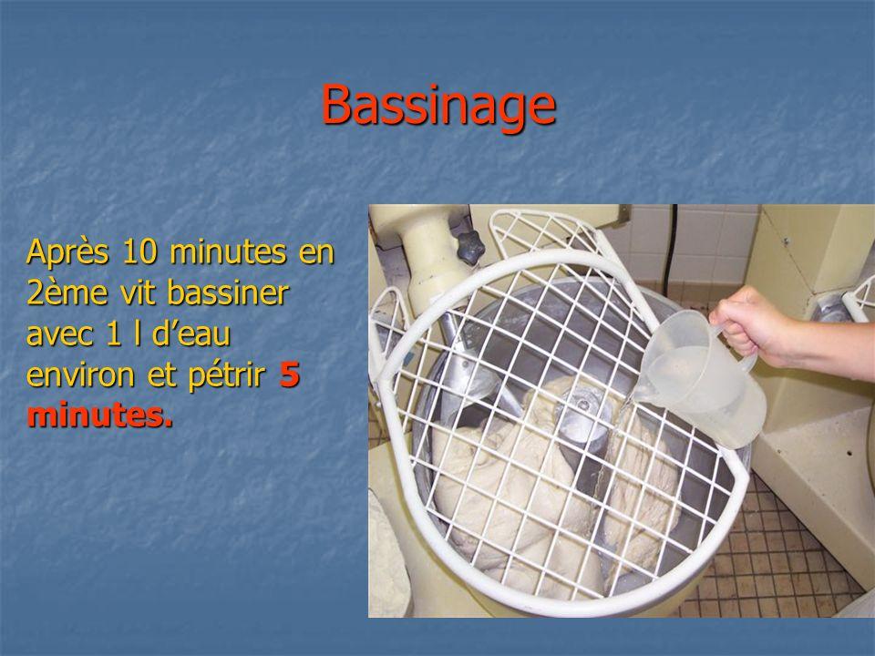 Bassinage Après 10 minutes en 2ème vit bassiner avec 1 l d'eau environ et pétrir 5 minutes.
